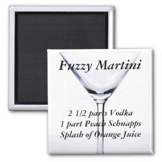 Fuzzy Martini Recipe Square Magnet