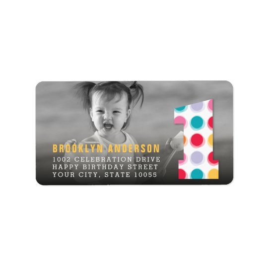 Fuzzy Modern Colour Dots 1st Birthday Party Photo Label