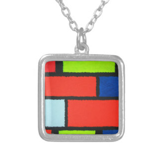.Fuzzy Mondrian orange and green Square Pendant Necklace