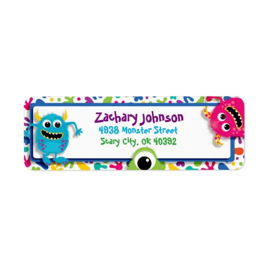 Fuzzy Monsters Return Address Label
