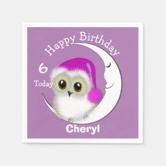 Fuzzy Night Owl Sleepover Personalized Disposable Serviette