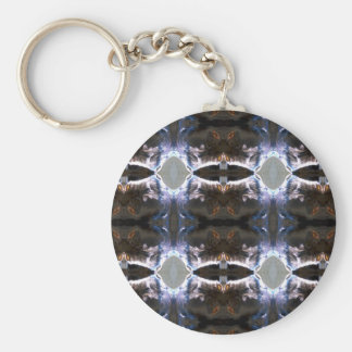 Fuzzy Pattern Basic Round Button Key Ring