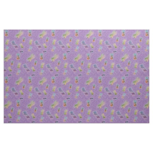 Fuzzy Purple Pineapples Patterned Fabric
