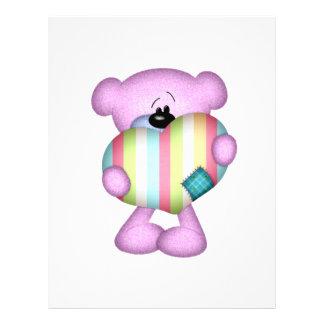 fuzzy purple stripes heart love bear full color flyer