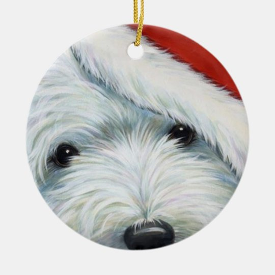 """Fuzzy Santa"" Westie Christmas Ornament by Borgo"