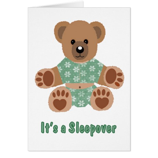 Fuzzy Teddy Bear Green Flowered Pyjamas Sleepover Card