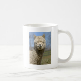 Fuzzy White Alpaca Face Coffee Mug