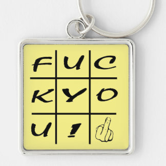 FY! Silver-Colored SQUARE KEY RING