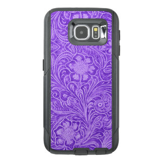 G1 Purple Floral pattern Suede leather Look