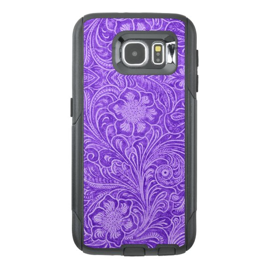 G1 Purple Floral pattern Suede leather Look OtterBox