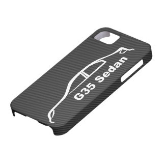 G35 Sedan White Silhouette with Faux Carbon Fiber iPhone 5 Cases