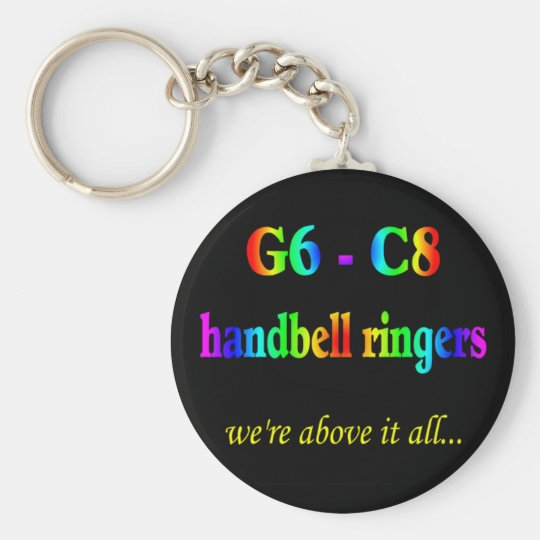 G6-C8 Handbell Ringers Basic Round Button Key Ring