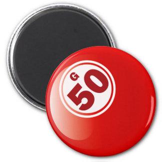 G 50 BINGO BALL 6 CM ROUND MAGNET