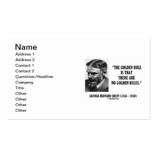 G. B. Shaw Golden Rule No Golden Rules Quote Pack Of Standard Business Cards