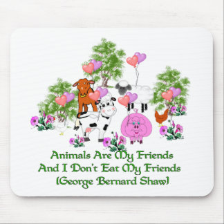 G. B. Shaw Vegetarian Quote Mouse Mat