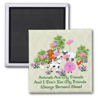 G. B. Shaw Vegetarian Quote Square Magnet