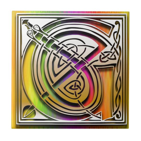 G Celtic Rainbow Custom Monogram Tile