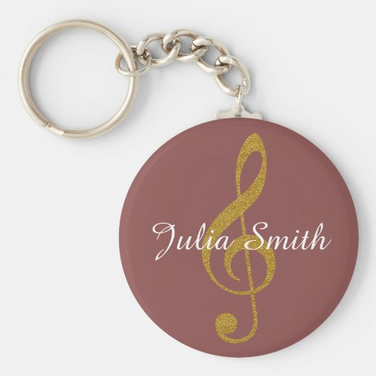 g-clef musical note personalised with name key ring