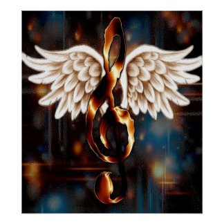G Clef with Wings Poster