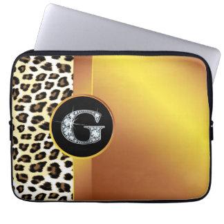 "G ""Diamond"" Gold Leopard & Ribbon Electronics Ba Laptop Sleeve"