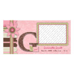 G Girl Baby Announcement Picture Card