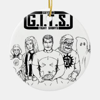 G.I.T.S. Guys In Tight Shorts Round Ceramic Decoration