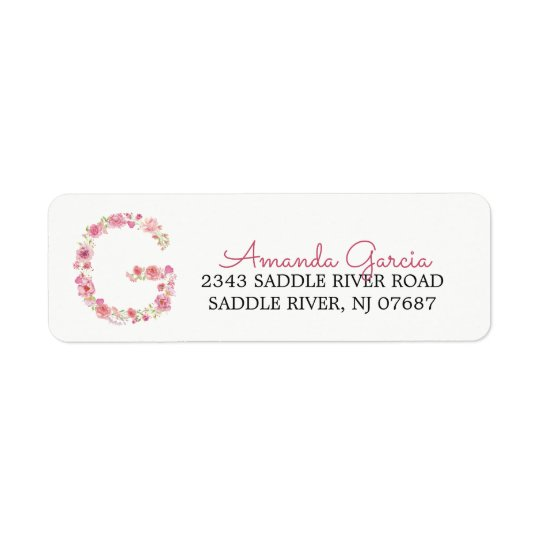G Initial Floral Monogram Return Address Label