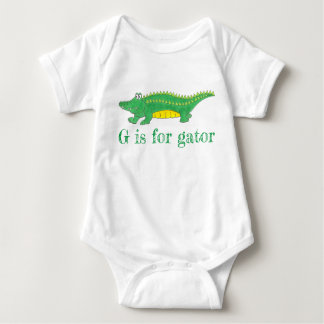 G is for Gator Green Alligator Croc Crocodile Baby Bodysuit