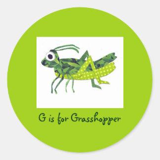 G is for Grasshopper Classic Round Sticker