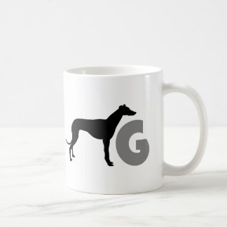 G is for greyhound coffee mug