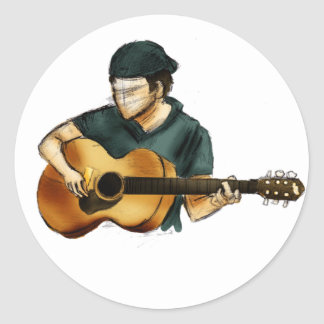 G is for Guitar Round Sticker