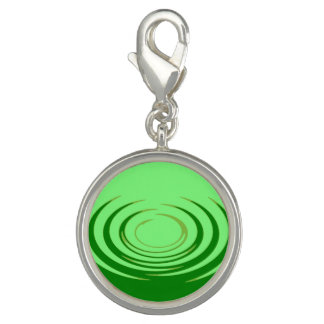 G Jade Ripples Round Charm, Silver Plated