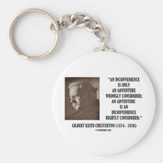 G.K. Chesterton Inconvenience Adventure Considered Basic Round Button Key Ring