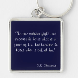 G.K. Chesterton Silver-Colored Square Key Ring