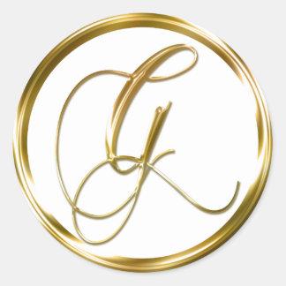G Monogram Faux Gold Envelope Or Favor Seal Round Sticker