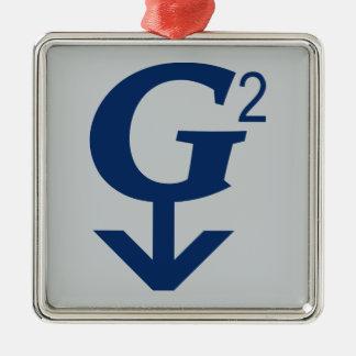 G-Squared Great Grandfather Symbol Silver-Colored Square Decoration
