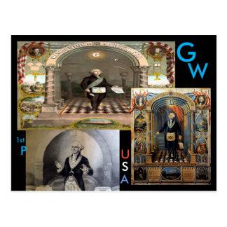 G.W., George Washington, 1st President of the USA. Postcard