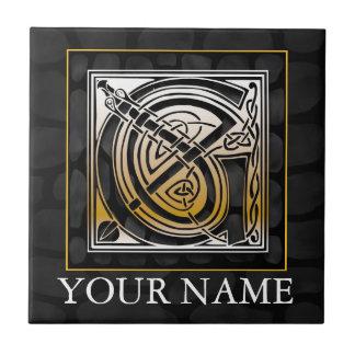 """G """"Your Name"""" Celtic Black Stone Monogram Tile"""