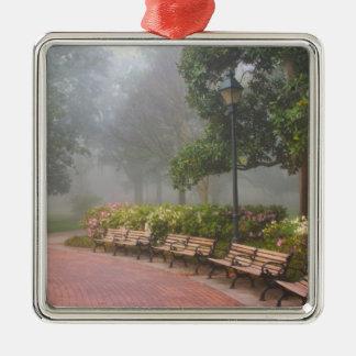 GA Savannah, Azaleas along brick sidewalk and Silver-Colored Square Decoration