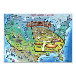GA USA Map Card 13 Cm X 18 Cm Invitation Card