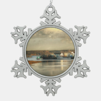 Gabarus Fishing Village in Cape Breton Island Snowflake Pewter Christmas Ornament
