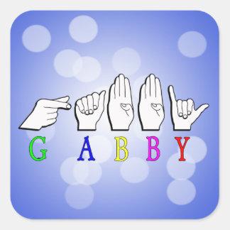 GABBY FINGERSPELLED ASL NAME SIGN SQUARE STICKER