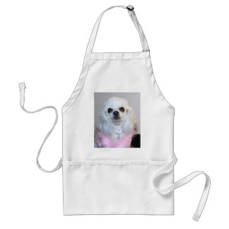 Gabby white poodle fancy dressed in Pink Aprons