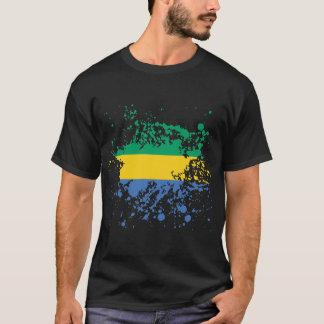 Gabon Flag Ink Splatter T-Shirt