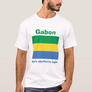 Gabon Flag + Map + Text T-Shirt