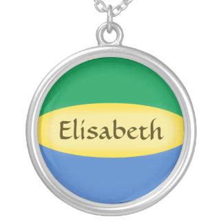 Gabon Flag + Name Necklace