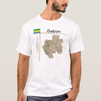 Gabon Map + Flag + Title T-Shirt