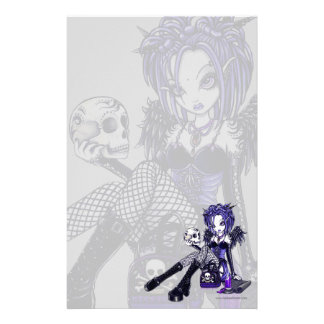 """Gabriella"" Gothic Blue Skull Angel Art Stationery"