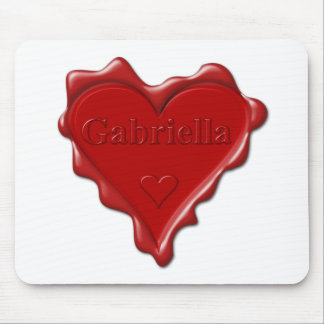 Gabriella. Red heart wax seal with name Gabriella. Mouse Pad