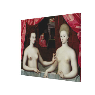 Gabrielle d Estrees and her sister Canvas Print